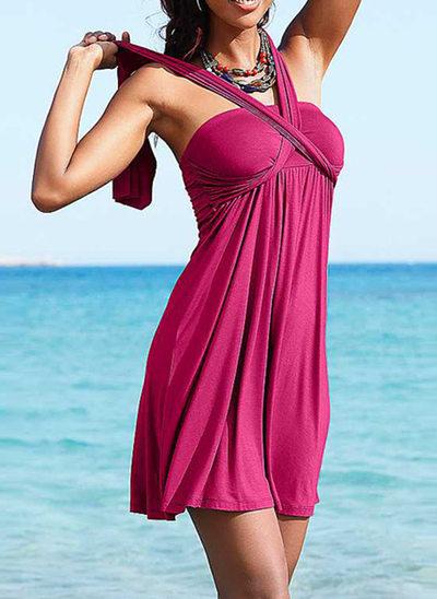 Schöne Einfarbig Strandkleid