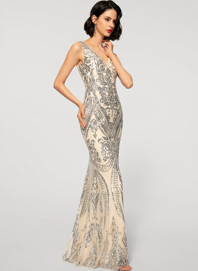 Sheath/Column V-neck Floor-Length Tulle Sequined Evening Dress
