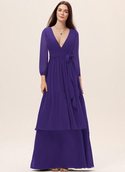 Трапеция V-образный Длина до пола шифон Платье Подружки Невесты с Лента Ниспадающие оборки