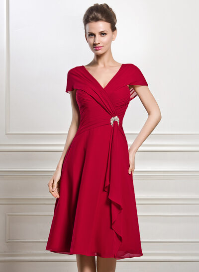 A-Line V-neck Knee-Length Chiffon Mother of the Bride Dress With Beading Sequins Cascading Ruffles