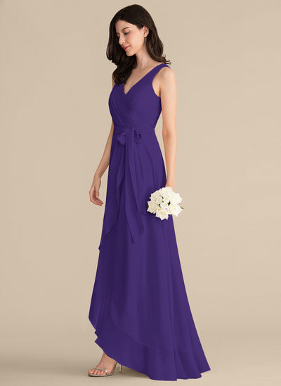 A-Line/Princess V-neck Asymmetrical Chiffon Prom Dresses With Ruffle Bow(s)
