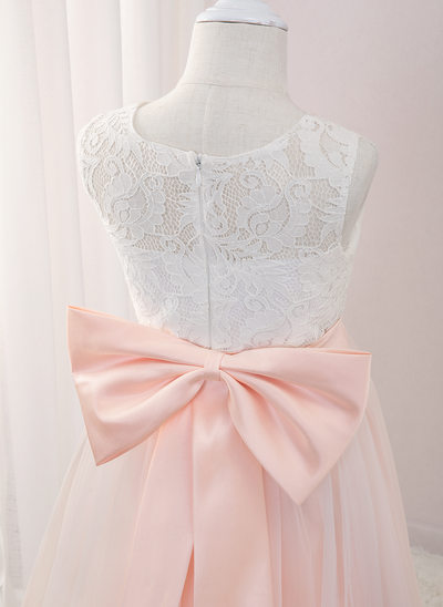 A-Line Floor-length Flower Girl Dress - Tulle/Lace Sleeveless Scoop Neck With Beading/Appliques/Bow(s)