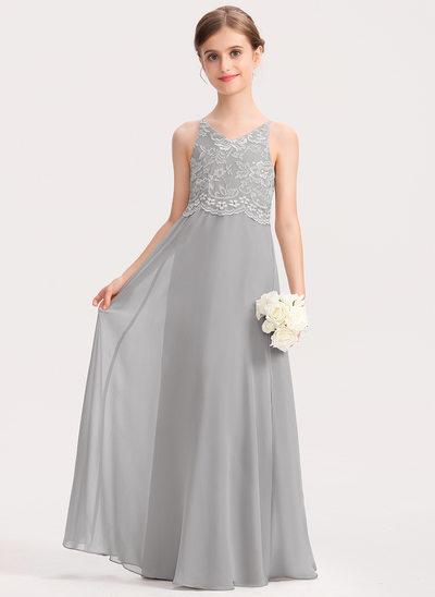 A-Linie V-Ausschnitt Bodenlang Chiffon Spitze Kleid für junge Brautjungfern