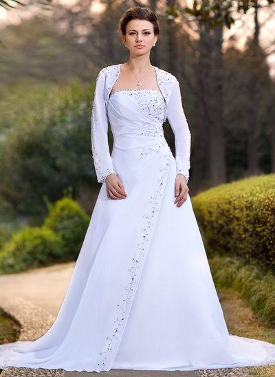 A-Line/Princess Strapless Chapel Train Chiffon Wedding Dress With Ruffle Beading Sequins