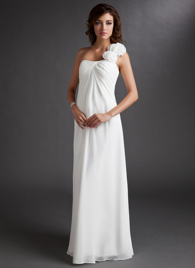 Empire One-Shoulder Floor-Length Chiffon Maternity Bridesmaid Dress With Ruffle Flower(s)