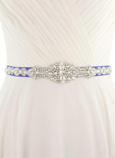 Elegante Satén Cinturón con Diamantes de imitación