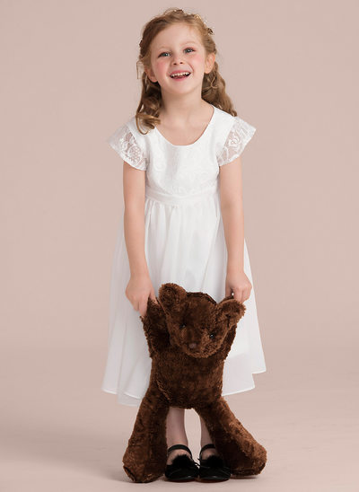 A-Line/Princess Tea-length Flower Girl Dress - Chiffon/Lace Short Sleeves Scoop Neck (Undetachable sash)