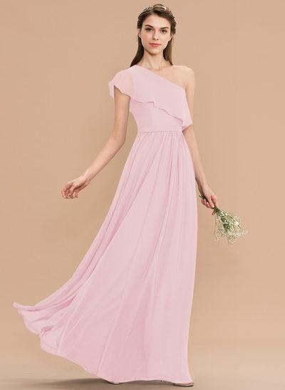 A-Line One-Shoulder Floor-Length Chiffon Bridesmaid Dress