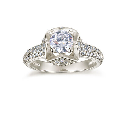 Sterling Silver Cubic Zirconia Vintage Milgrain Round Cut Engagement Rings Promise Rings -