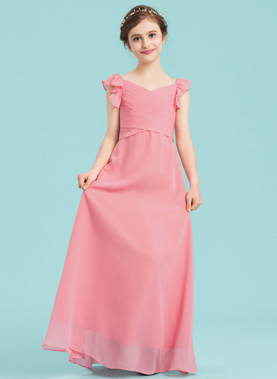 A-Line/Princess V-neck Floor-Length Chiffon Junior Bridesmaid Dress With Ruffle Cascading Ruffles