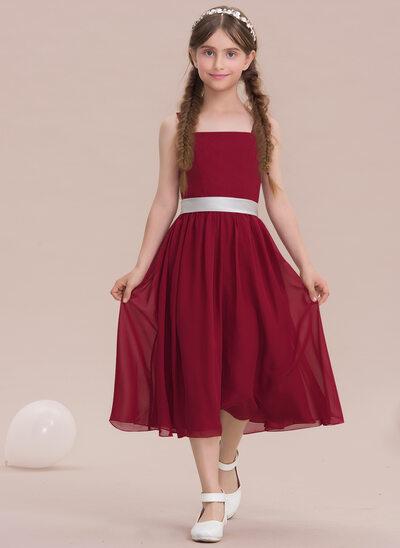 A-Line/Princess Square Neckline Tea-Length Chiffon Junior Bridesmaid Dress With Bow(s)