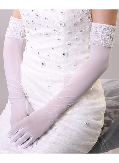 Nylon Opera Length Bridal Gloves