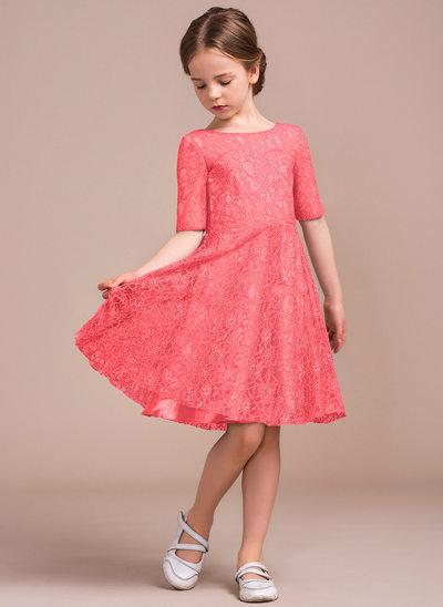 Vestidos princesa/ Formato A Decote redondo Coquetel Renda Vestido de daminha júnior