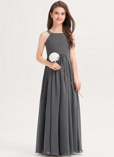 A-Linie U-Ausschnitt Bodenlang Chiffon Kleider für junge Brautjungfern mit Rüschen Spitze