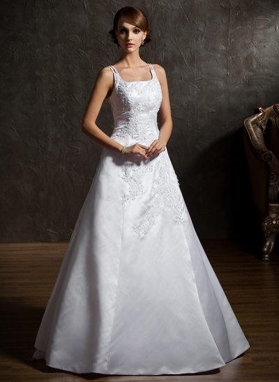 A-formet/Prinsesse Firkantet hals Gulvlengde Satin Organza Brudekjole med Perlebesydd Applikasjoner Blonder Blomst(er)