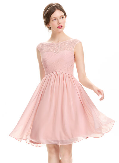 A-Line/Princess Scoop Neck Knee-Length Chiffon Prom Dress With Ruffle Lace Beading Sequins