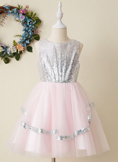 Áčkové Šaty Po kolena Flower Girl Dress - Tyl/Sequined Bez rukávů Scoop Neck S flitry