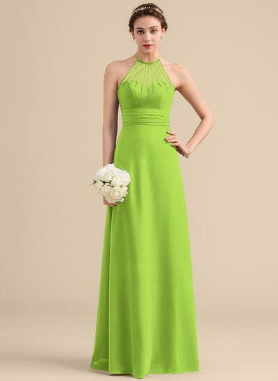 A-Line/Princess Scoop Neck Floor-Length Chiffon Bridesmaid Dress With Beading