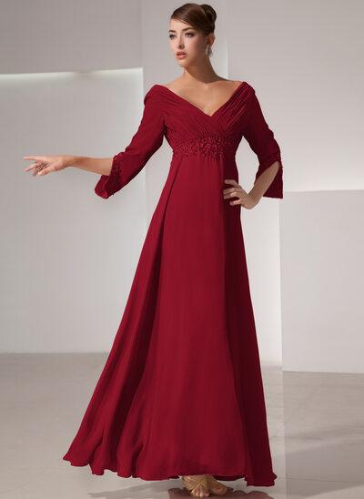 Empire-Linie V-Ausschnitt Bodenlang Chiffon Kleid für die Brautmutter mit Rüschen Perlstickerei