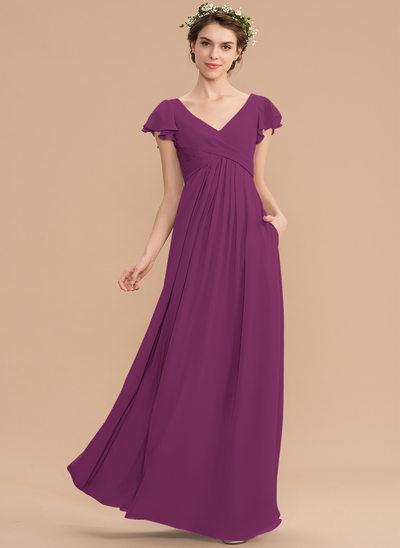 A-Line V-neck Floor-Length Chiffon Bridesmaid Dress With Cascading Ruffles Pockets
