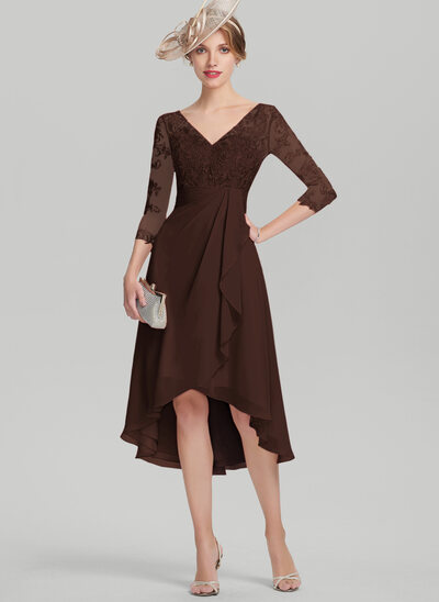 A-Line V-neck Asymmetrical Chiffon Lace Mother of the Bride Dress With Cascading Ruffles
