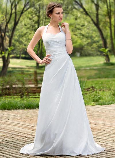 A-Line/Princess Halter Court Train Taffeta Wedding Dress With Ruffle