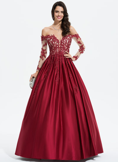 Ballkjole/Princess Off-the-Shoulder Gulvlengde Satin Festkjole med Profilering paljetter