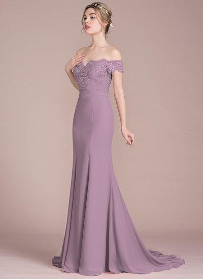Trompete/Sereia Off-the-ombro Cauda de sereia Tecido de seda Renda Vestido de baile com Beading lantejoulas