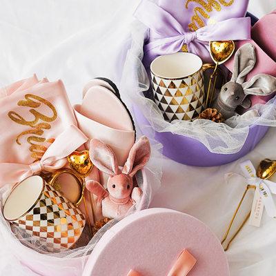Brautjungfern Geschenke - Zarte Porzellan Charmeuse Geschenkbox / Tasche (Set van 5)