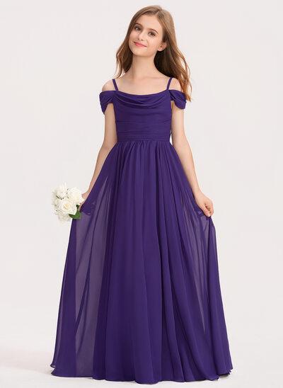 A-Linie Off-the-Schulter Bodenlang Chiffon Kleid für junge Brautjungfern mit Rüschen