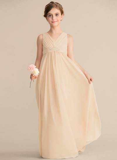 A-Line/Princess V-neck Floor-Length Chiffon Junior Bridesmaid Dress With Beading