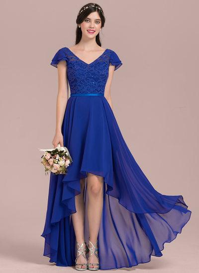 A-Linie/Princess-Linie V-Ausschnitt Asymmetrisch Chiffon Lace Brautjungfernkleid mit Perlstickerei Pailletten