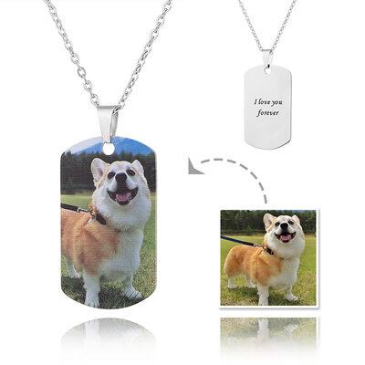 Gepersonaliseerde zilver Label Afdrukken In Kleur Foto Ketting - Moederdag Cadeaus