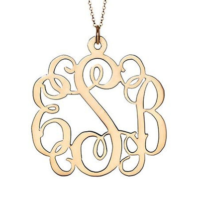 Custom 18k Gold Plated Silver Letter Monogram Necklace - Valentines Gifts