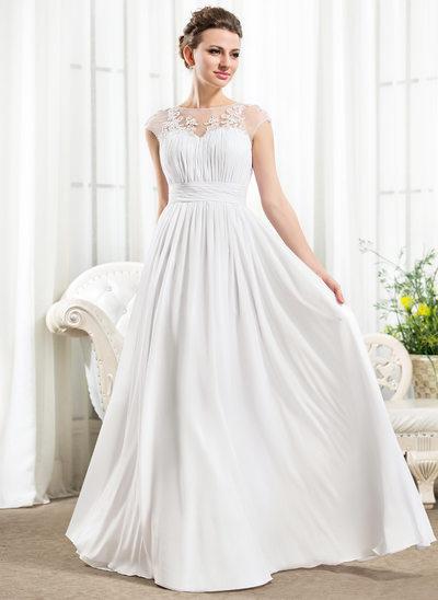 A-Line Illusione A terra Chiffona Abiti da sposa con Increspature Perline Di Appliques Pizzo Lustrini