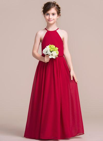 Forme Princesse Longueur ras du sol Robes à Fleurs pour Filles - Mousseline Sans manches Col rond
