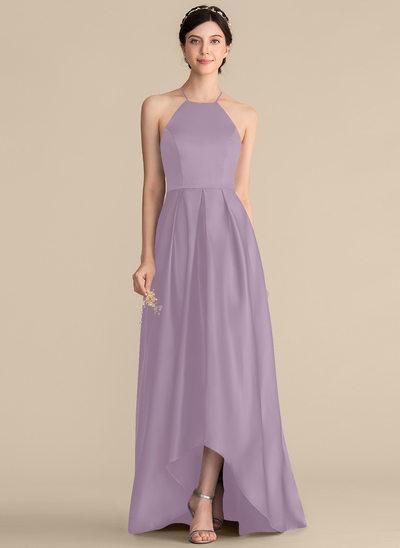 Vestidos princesa/ Formato A Decote quadrado Assimétrico Cetim Vestido de baile com Pregueado Curvado