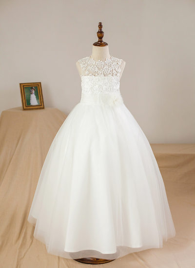 Ball Gown Ankle-length Flower Girl Dress - Satin/Tulle Sleeveless Scoop Neck With Appliques/Flower(s)