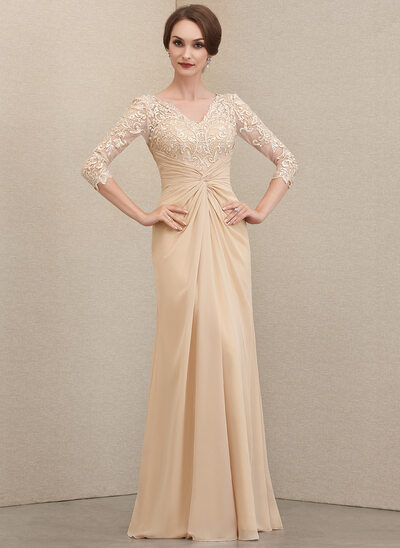 Sheath/Column V-neck Floor-Length Chiffon Lace Mother of the Bride Dress With Ruffle
