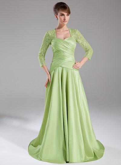 A-Line/Princess Sweetheart Sweep Train Taffeta Lace Mother of the Bride Dress With Ruffle