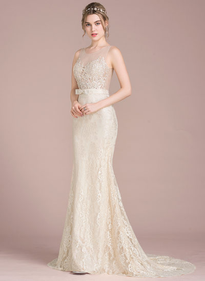 Trumpet/Mermaid Scoop Neck Sweep Train Lace Wedding Dress With Beading Sequins Bow(s)