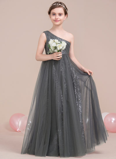 A-Line/Princess One-Shoulder Floor-Length Tulle Sequined Junior Bridesmaid Dress With Ruffle