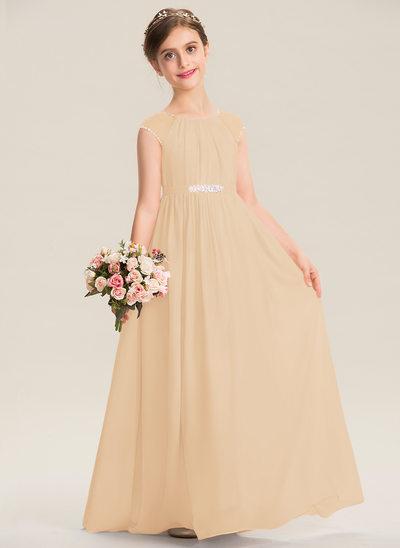 Corte A Decote redondo Longos Tecido de seda Vestido de daminha júnior com Beading lantejoulas