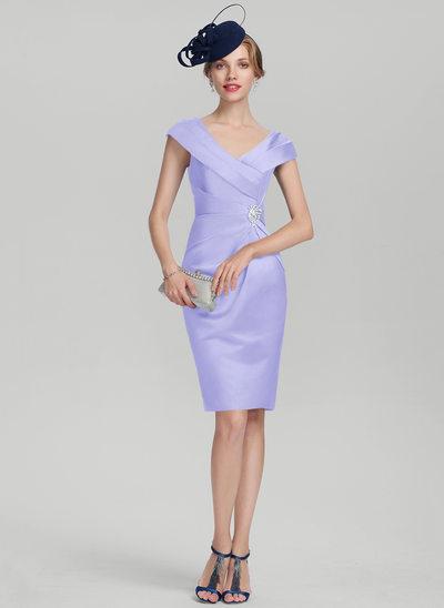 Pouzdro V-Výstřihem Po kolena Satén Šaty pro matku nevěsty S Volán Zdobení korálky