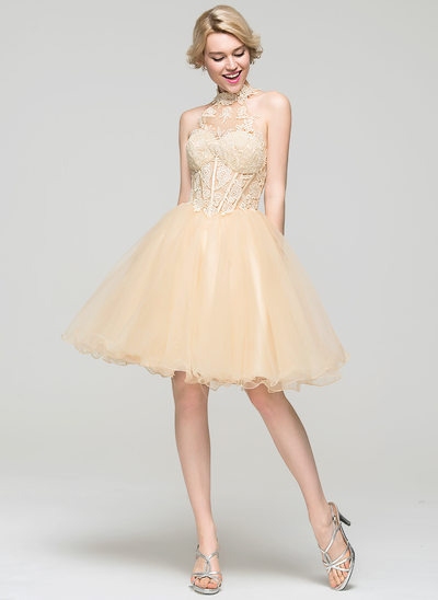 A-Line/Princess High Neck Knee-Length Tulle Homecoming Dress