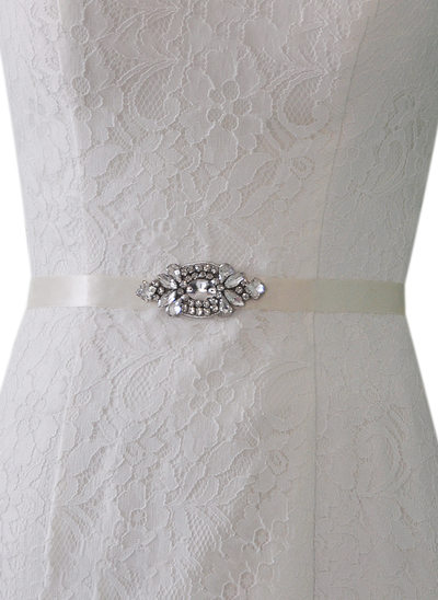 Elegant/Simple Satin Sash With Rhinestones
