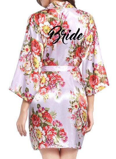 Individualisiert Braut Brautjungfern Polyester mit Kurz Personalisierte Roben Blumenroben