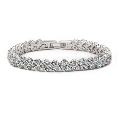 Christmas Gifts For Her - Cubic Zirconia Platinum Tennis Bridal Bracelets Bridesmaid Bracelets