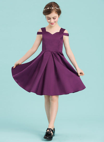A-Linie/Princess-Linie Schatz Knielang Satin Kleid für junge Brautjungfern