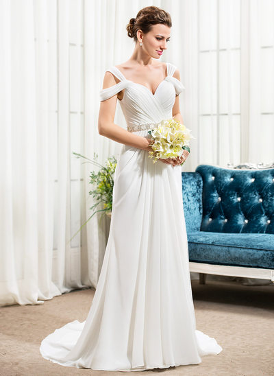 A-linjeformat Off-shoulder Court släp Chiffong Bröllopsklänning med Rufsar Beading Paljetter
